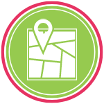 GoFish! Branded Services Icon - Strategic Planning - White background, circle in shape. A pink ring frames the logo, encompassing a smaller green ring, and within the green ring there is a green circle. In the centre of the circle there is a map icon, with a finder icon superimposed on top, pointing to a destination. The icons are white with green lines.
