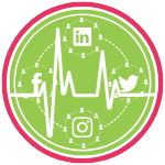 GoFish! Branded Services Icon - Social Media Clinic - White background, circle in shape. Pink ring frames the logo, encompassing a smaller green ring, and within the green ring there is a green circle. In the very centre of the circle, running across the entire icon, there is a white EKG-style line. The EKG-style line is superimposed over another circle, this one made of a white dashed lines, which is broken at the top, bottom, left and right, where four other circles appear. Those smaller circles are composed of dashed white lines connecting white generic people figures, signifying the internet. Within each of the smaller circles there are white logos for the following social networks: Top - LinkedIn; Right - Twitter; Bottom - Instagram; Left - Facebook