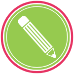 GoFish! Branded Services Icon - Grant Writing - White background, circle in shape. A pink ring frames the logo, encompassing a smaller green ring, and within the green ring there is a green circle. In the centre circle there is a simple pencil icon. The pencil is composed of white lines. It is horizontal across the circle, with the eraser in the top left and the lead of the pencil in the lower right of the circle.