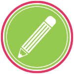 GoFish! Branded Services Icon - PR Writing - White background, circle in shape. A pink ring frames the logo, encompassing a smaller green ring, and within the green ring there is a green circle. In the centre circle there is a simple pencil icon. The pencil is composed of white lines. It is horizontal across the circle, with the eraser in the top right and the lead of the pencil in the lower left of the circle.