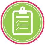 GoFish! Branded Services Icon - Communications Audit - White background, circle in shape. A pink ring frames the logo, encompassing a smaller green ring, and within the green ring there is a green circle. In the centre circle is the outline of a clip board, depicted in thick white lines. On the face of the clipboard are medium-thickness white horizontal lines, indicating words arranged in a checklist. To the left of each line is a white checkmark.