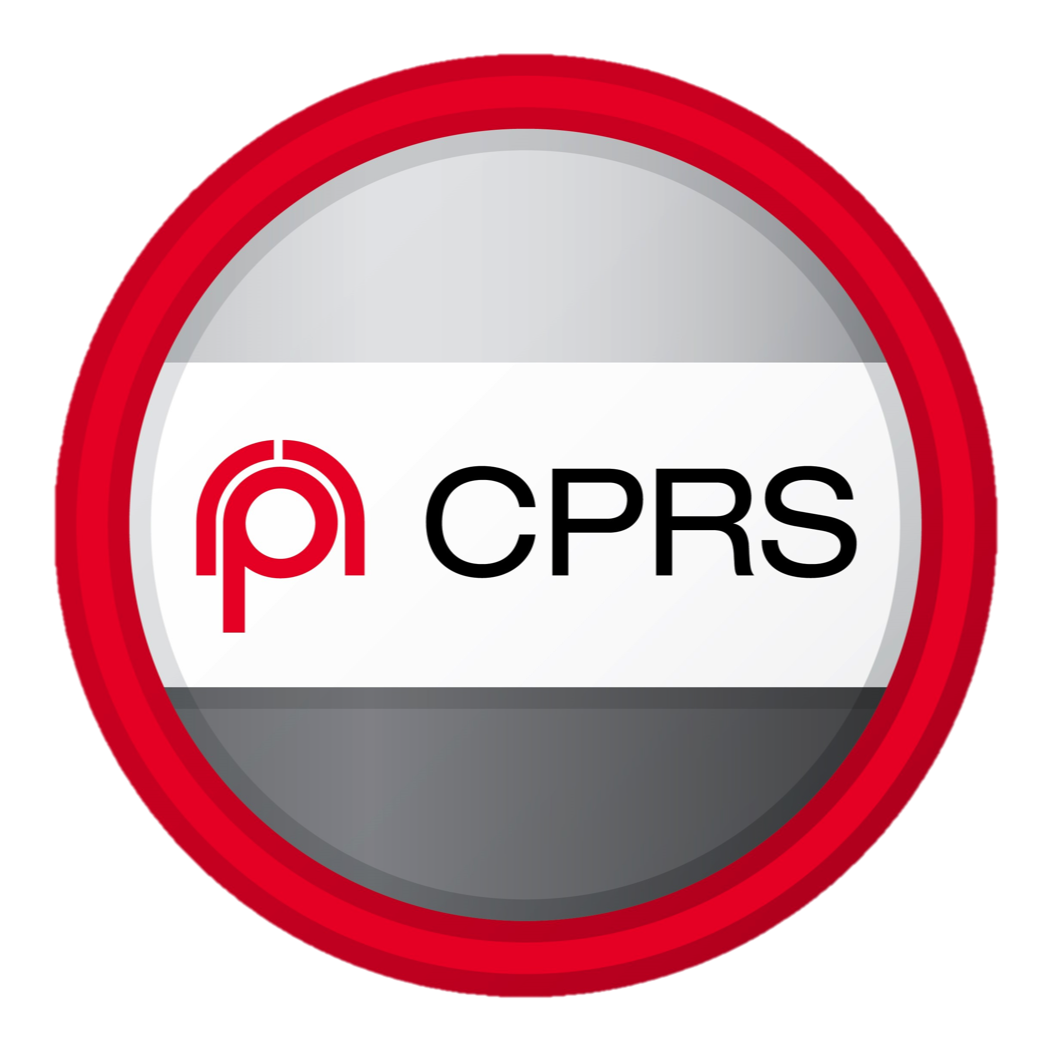 """The Canadian Public Relations Society logo badge - A circle with a red border and filled with a grey gradient, which is lighter and the top and gets progressively darker towards the bottom. Across the centre of the circle is a white rectangle, with a red CPRS logo on the left and the letters """"CPRS"""" in black on the left. The CPRS logo is comprised of two red arches extended over a lowercase """"p."""""""