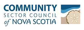 "The Community Sector Council of Nova Scotia logo - White background. Rectangle in shape. On the left 2/3 of the logo are the name of the organization. ""Community"" appears on the top line, in bold dark green-blue, all capitalized text. ""Sector Council"" appears on the middle line, in slightly smaller and non-bold font, in the same colour. ""of Nova Scotia"" appears on the bottom line, in the same blue-grey colour. The ""of"" is lowercase and italic, and ""Nova Scotia"" is in all capitals, and slightly bolder then the letters on the second line."