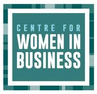 "The Centre for Women in Business logo - White background, square in shape. There is the outline of a square around the perimeter of the logo, creating a frame. It leaves a few centimetres of white space between the frame and the outer edges of the logo. The frame is composed of three different shades of the same deep green-blue colour. In the centre of the frame is a medium green-blue square. There are a few centimetres of white space between the frame and the square. Inside the square is the organization's name, over three lines of text. ""Centre for"" appears on the top line, in a lighter, more blue blue-green colour, all capitals. It is is a smaller font than the rest of the text. ""Women in"" appears on the second line in white, all capitals. ""Business"" appears on the last line, also in white, call capitals. All the text is centred, and justified so the left and right edges of text align."