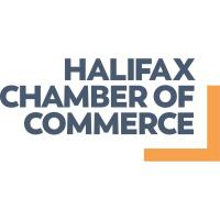 "The Halifax Chamber of Commerce logo - White background. Square in shape. The name of the organization is in uniform dark grey-blue letters, in all capitals. ""Halifax"" appears on the first line, ""Chamber of"" appears on the second, and ""Commerce"" in the last line of text. Two thick lines, golden yellow in colour, form a right-angle, like two lines of a square that form a corner. The horizontal line extends from the ""R"" in ""Commerce"" to the edge of the logo. The vertical line is aligned against the right-hand edge of the logo, extending from the top of the ""of"" on the second line down to meet the horizontal line. The lines are a few centimetres from the lettering, leaving white space in between."