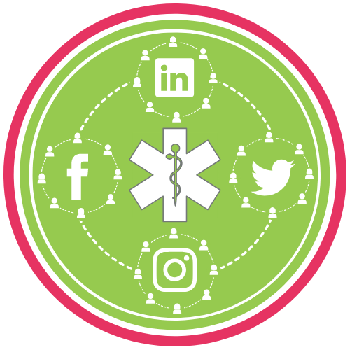 GoFish! Branded Services Icon - Featured Tool - Social Media Check-Up - White background, circle in shape. Pink ring frames the logo, encompassing a smaller green ring, and within the green ring there is a green circle. In the very centre of the circle is a white star-of-life outlined in grey, where the Rod of Asclepius in the centre is green with grey outline. The star-of-life is surrounded by a circle made of a white dashed lines, which is broken at the top, bottom, left and right, where four other circles appear. Those smaller circles are composed of dashed white lines connecting white generic people figures, signifying the internet. Within each of the smaller circles there are white logos for the following social networks: Top - LinkedIn; Right - Twitter; Bottom - Instagram; Left - Facebook