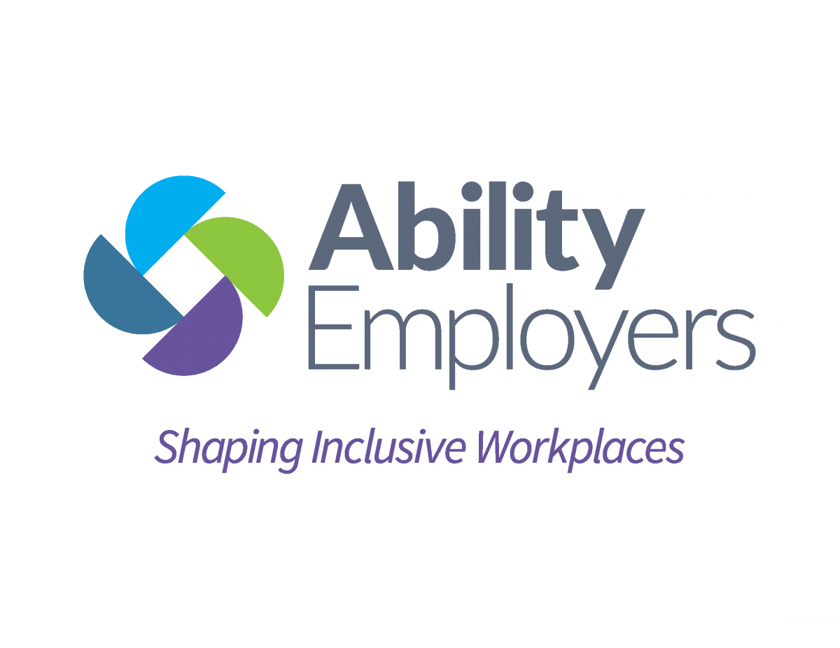 "The Ability Employers logo - Rectangular in shape, white background. On the left, 4 half-circles arranged so their edges form a square. The top half-circle is light blue, and going clockwise, the colours are green, purple, and dark blue-grey. To the right of the logo are the words ""Ability Employers"" in dark grey. Across the bottom of the logo is the phrase ""Shaping Inclusive Workplaces"" in purple, and the font is in italics."