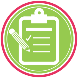 GoFish! Featured Tools Icon - A green circle and ring inside of a pink outer ring. Inside the circle is a white icon of a clipboard with one of three listed items checked off. To the left of the board is a white pencil icon, poised as if writing on the sheet.